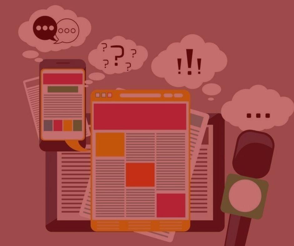 #pratodosverem: artigo: do direito de resposta. na foto, aparelhos eletrônicos simulando questionamentos sobre um assunto. Cores na imagem: verde, amarelo, cinza, branco e vermelho.
