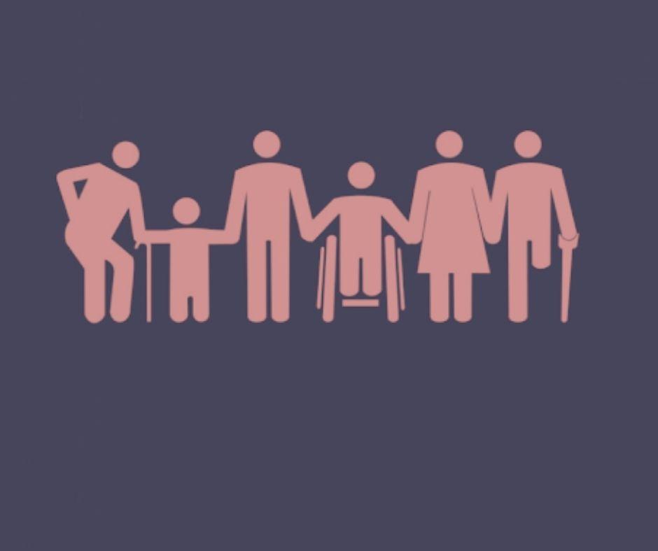 #pratodosverem: Benefício assistencial. Na foto, pessoas com deficiência. Cores na imagem: branco, azul e vermelho.