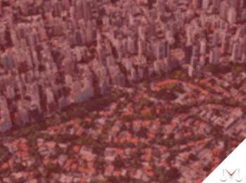 #pratodosverem: artigo: Alteração da Lei de Zoneamento Urbano. Na foto uma vista área de uma cidade. Cores na imagem: verde, laranja, branco, preto e cinza.