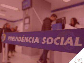 #pratodosverem: artigo: Acumulação de benefícios previdenciários. Na foto um posto da previdência social do Brasil. Cores na imagem: azul, branco, preto e amarelo.