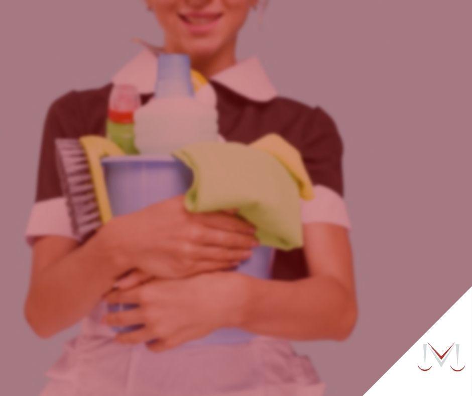 #pratodosverem: artigo: Quais são os direitos dos empregados domésticos? Na foto uma empregada doméstica segurando itens de limpeza. Cores na foto: verde, azul, vermelho, preto, branco e amarelo.