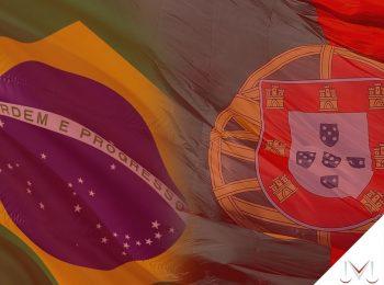 #pratodosverem: artigo: Acordo previdenciário entre Brasil e Portugal. Descrição da imagem: bandeira de Brasil e Portugal lado a lado. Cores na imagem: verde, branco, azul, vermelho e amarelo.