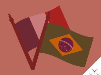 #pratodosverem: artigo: Acordo previdenciário entre Brasil e França. Descrição da imagem: Bandeiras do Brasil e França. Cores na foto: verde, amarelo, azul, branco, vermelho, cinza.